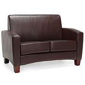 OFM Traditional Reception Loveseat - Faux Leather - Brown - Essentials Series