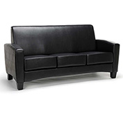 OFM Traditional Reception Sofa - Faux Leather - Black - Essentials Series