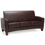 OFM Traditional Reception Sofa - Faux Leather - Brown - Essentials Series