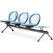 NET Series Beam with 3 Seats and 1 Table - Sky Blue