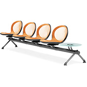 OFM Beam Seating with 4 Seats and 1 Table - Orange - NET Series