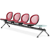 OFM Beam Seating with 4 Seats and 1 Table - Red - NET Series