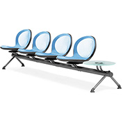 OFM Beam Seating with 4 Seats and 1 Table - Sky Blue - NET Series