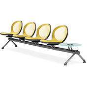 NET Series Beam with 4 Seats and 1 Table - Yellow