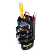 Officemate Supply Organizer with 7 Compartments Including 4 Swing Out Drawers Black