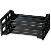 "Officemate®Stackable Desk Trays Side Load 13-3/16"" x 9"" x 2-3/4"" 2 Pack Black - Pkg Qty 2"