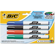 Bic® Great Erase Bold Pocket Style Dry Erase Markers, Fine, Assorted, 4/Pack
