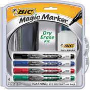 Bic® Magic Marker Low Odor & Bold Writing Pen Style Dry Erase Marker, Assorted, 4/Pk