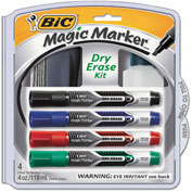 Bic® Magic Marker Low Odor & Bold Writing Tank Style Dry Erase Marker, Assorted, 4/Pk