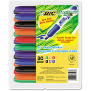 Bic® Great Erase Grip Dry Erase Markers, Chisel Tip, Assorted, 30/Pack