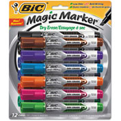 Bic® Magic Marker Low Odor & Bold Writing Tank Style Dry Erase Marker, Assorted, 12/Pk