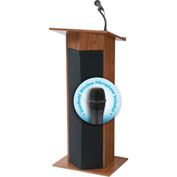 "Oklahoma Sound Power Plus Podium / Lectern with Wireless Handheld Mic 22""W x 17""D x 46""H Medium Oak"