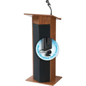 Oklahoma Sound Power Plus Podium / Lectern with Wireless Tieclip / Lavalier Mic, Medium Oak