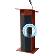 "Oklahoma Sound Power Plus Podium / Lectern with Wireless Handheld Mic 22""W x 17""D x 46""H Mahogany"