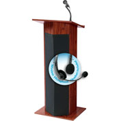 "Oklahoma Sound Power Plus Podium / Lectern with Wireless Headset Mic 22""W x 17""D x 46""Mahogany"