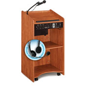 Oklahoma Sound Aristocrat Sound Podium / Lectern with Headset Wireless Mic, Cherry