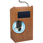 Oklahoma Sound Aristocrat Sound Podium / Lectern w / Wireless Tieclip / Lavalier Mic, Medium Oak