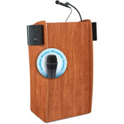 "Oklahoma Sound Vision & Sound Podium / Lectern with Handheld Wireless Mic 25""W x 21""D x 46""H Cherry"