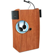 "Oklahoma Sound Vision & Sound Podium / Lectern with Headset Wireless Mic 25""W x 21""D x 46""H Cherry"