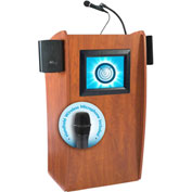 Oklahoma Sound Vision & Sound Podium / Lectern with Screen & Handheld Wireless Mic, Cherry