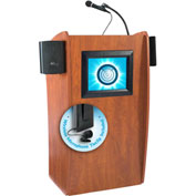 Oklahoma Sound Vision & Sound Podium / Lectern with Screen & Wireless Tieclip/Lavalier Mic, Cherry
