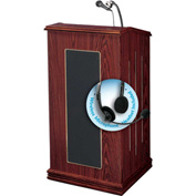 Oklahoma Sound Prestige Sound Podium / Lectern with Wireless Headset Mic, Mahogany