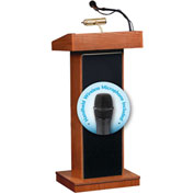 Oklahoma Sound Fixed Height Orator Podium / Lectern & Wireless Handheld Mic, Wild Cherry