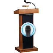 Oklahoma Sound Fixed Height Orator Podium / Lectern & Wireless Handheld Mic, Medium Oak