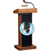 Oklahoma Sound Orator Podium / Lectern with Wireless Tieclip / Lavalier, Medium Oak