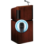 Oklahoma Sound Tabletop-Base Combo Podium / Lectern w / Wireless Handheld Mic, Mahogany / Walnut