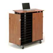 "Oklahoma Sound LCSC Laptop Charging & Storage Cart For 24 Laptops, 43-1/4""H x 37""D x 19-1/4""W"