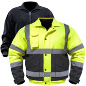 Utility Pro™ Hi-Vis Bomber Jacket W/Zip-Out Liner, L, Yellow/Black