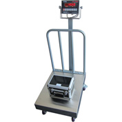 "Optima 915 Series NTEP Bench Digital Scale w/ LED Display & Backrail Wheels 500lb x 0.1lb 24"" x 18"""