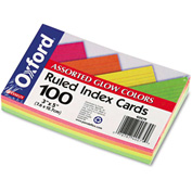 "Oxford® Rule Index Cards 40279, 3"" x 5"", Glow Assorted, 100/Pack"
