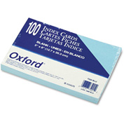 "Oxford® UnRule Index Cards 7520BLU, 5"" x 8"", Blue, 100/Pack"