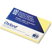 "Oxford® UnRule Index Cards 7520CAN, 5"" x 8"", Canary, 100/Pack"