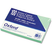 "Oxford® UnRule Index Cards 7520GRE, 5"" x 8"", Green, 100/Pack"