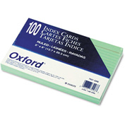 "Oxford® Rule Index Cards 7521GRE, 5"" x 8"", Green, 100/Pack"