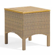 Oxford Garden® Torbay End Table, Antique Wicker, Teak Top