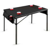 Picnic Time Soft Top Travel Table w/ 4 Cup Holders & 2 Security Pockets Black/Gunmetal Gray Frame