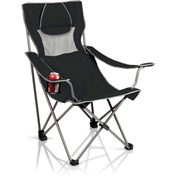 Picnic Time Camping Chair w/ Cup Holder & Headrest-Pillow w/ Carrying Bag 300 Lbs Cap. Black/Gray