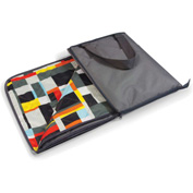 "Picnic Time Vista Outdoor Blanket Tote Unfolds to 59"" x 51"" Gray with Geometric Print"