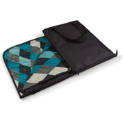 """Picnic Time Vista Outdoor Blanket Tote Unfolds to 59"""" x 51"""" Black with Blue Argyle"""