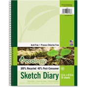 "Pacon® Ecology Sketch Diary 4798, 8-1/2"" x 11"", White, 70 Sheets/Pad"
