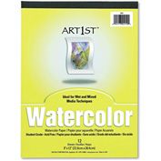 "Pacon® Artist Watercolor Paper Pad 4910, 9"" x 12"", White, 12 Sheets/Pad"