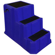 """3 Step Nestable Plastic Step Stand - Blue 36""""W x 43""""D x 28""""H - NST-3 BL"""