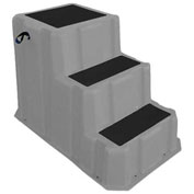 "3 Step Nestable Plastic Step Stand - Gray 26""W x 43""D x 28""H - NST-3 GY"