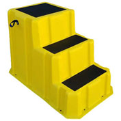 "3 Step Nestable Plastic Step Stand - Yellow 26""W x 43""D x 28""H - NST-3 YEL"