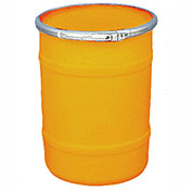 US Roto Molding 15 Gallon Plastic Drum SS-OH-15 - Open Head with Plain Lid - Bolt Ring - Orange