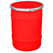 US Roto Molding 15 Gallon Plastic Drum SS-OH-15 - Open Head with Plain Lid - Bolt Ring - Red